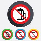 Glass of beer sign icon. No Alcohol drink symbol.