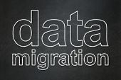 Data concept: Data Migration on chalkboard background