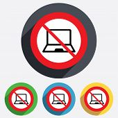 No Laptop sign icon. Notebook pc symbol.