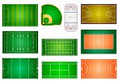 stock photo of grass area  - detailed illustration of different sport fields and courts - JPG