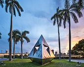 WEST PALM BEACH, FLORIDA - JUNE 25, 2013: Intetra by Isamu Noguchi. The artist is known for his sculptures and public works.