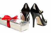 Rose box and Black strappy shoes