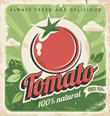 picture of 50s 60s  - Vintage vector poster design with fresh tomato - JPG