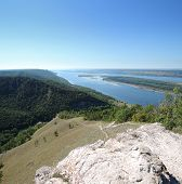 View Of The Volga River With The Mountains On A Summer Day