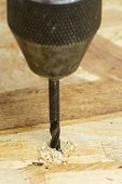 stock photo of auger  - Close-up of Auger bit drilling wood - focus on wood