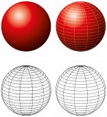 Red Sphere With Meridians