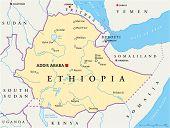 image of ethiopia  - Political map of Ethiopia with capital Addis Ababa - JPG