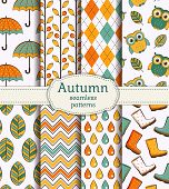 Autumn Seamless Patterns. Vector Set.