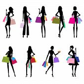 Women Shopping - silhouettes