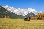 Autumn scenic view from Mieming Plateau Austria Tyrol