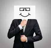 Businessman Standing White Paper Happy Smile Face Holding Front Of Head