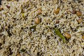 A background of tamarind rice ~ A specialitate of South India
