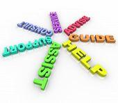 Ajuda - palavras coloridas em um círculo