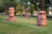 Statues Of Easter Island In Mini Siam Park