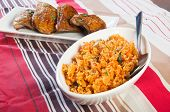 picture of crispy rice  - a bowl of java rice with crispy herbed chicken - JPG