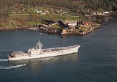 Ferrol, Spain-february 08: Aircraft Carrier Principe De Asturias In Ferrol, Spain, On February 08, 2