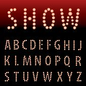 vector alphabet with red bulb lamps