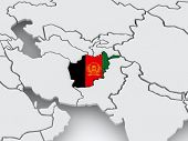 Map of worlds. Afghanistan. 3d