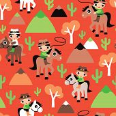 Seamless western retro cowboy and horse cacti illustration wild west kids background pattern in vect