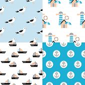 Seamless marine beach house seagull fisher men illustration background pattern set in vector