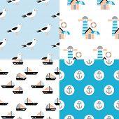 Seamless marine beach house seagull fisher men illustration background pattern set in vector