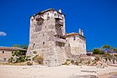 Historic fort in port Ouranoupolis , entry site to monasteries of Mount Athos, Chalkidiki, Greece.