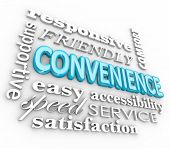 Convenience 3d word collage with terms responsive, fast, speed, service, friendly, support and more