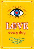 Yellow Retro Poster For Valentine's Day