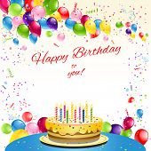 Happy birthday card with cake and balloons. Place for text. Raster version.