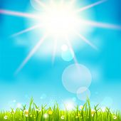 Bright summer midday. Holiday sunshine background. Raster version