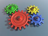 Brightly Colored Interlocking Cogs