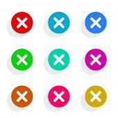 cancel flat icon vector set
