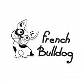 Funny French Bulldog - funny sketch illustration. Vector.