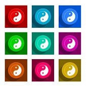 ying yang colorful flat icons set
