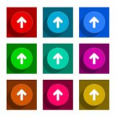 up arrow colorful flat icons set