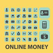 online money, payment, cash point black flat icons, signs, symbols set, vector