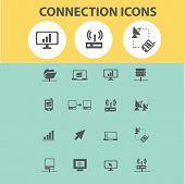 connection, communication, internet, link black flat icons, signs, symbols set, vector