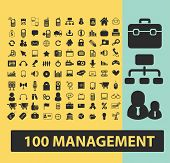100 management, marketing, business black flat icons, signs, symbols set, vector