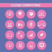 cloud computing, server, administration icons, signs set, vector