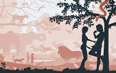 Illustrated silhouettes of Adam and Eve in the Garden of Eden