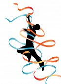 stock photo of leaping  - Illustrated silhouette of a leaping man with flowing ribbons - JPG