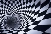 3D Cube Checkered Tunnel