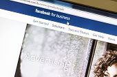 Ostersund, Sweden - August 3, 2014: Close up of Facebook advertising page on a computer screen. Face