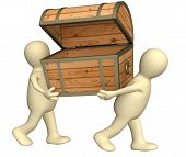 picture of treasure chest  - Two puppets with empty wooden box - JPG