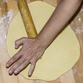 Hands With Rolling Kneading Dough