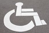 Close - up reserved parking sign for handicapped
