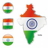 flag of India in map and internet buttons shape