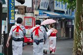 Japanese People walking around the town