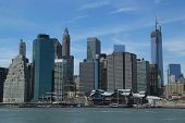 Lower Manhattan skyline with unfinished Freedom Tower and Pier 17 before reconstruction
