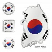 flag of South Korea in map and internet buttons shape